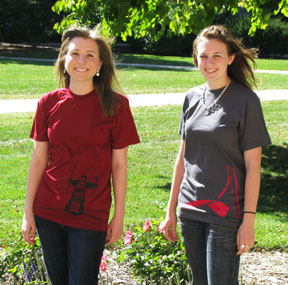 An image of individuals wearing T-shirts that have pieces of art on campus printed on them