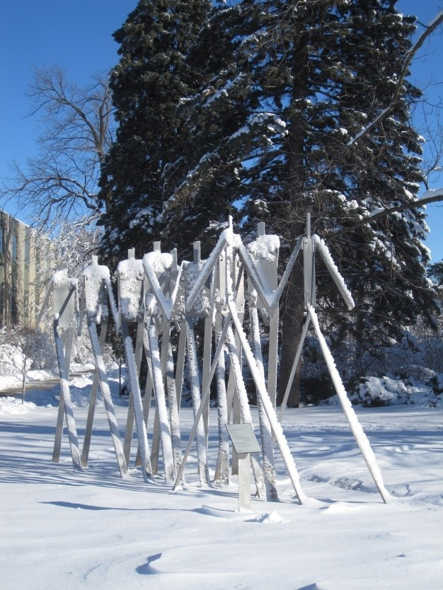 8. Forward by William King Type: Sculpture Location: Elizabeth and Byron Anderson Sculpture Garden, across the street from The Hub Medium: Aluminum
