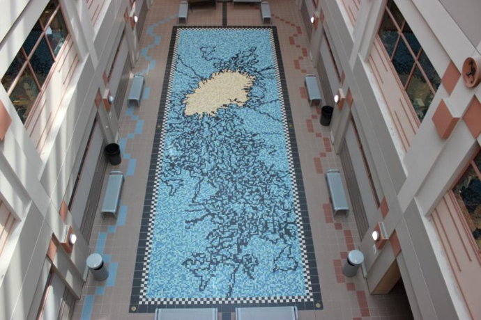 9. Gene Pool by Andrew Leicester Type: Mosaic Location: Atrium of the Molecular Biology Building Medium: Ceramic tile